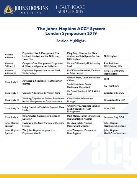 The Johns Hopkins ACG® System London Symposium 2019   Johns